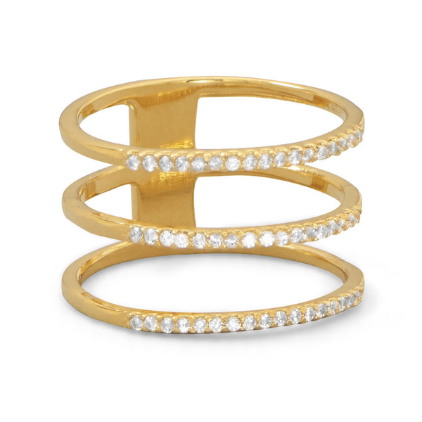 Gold Plated Triple Row Cubic Zirconia Ring