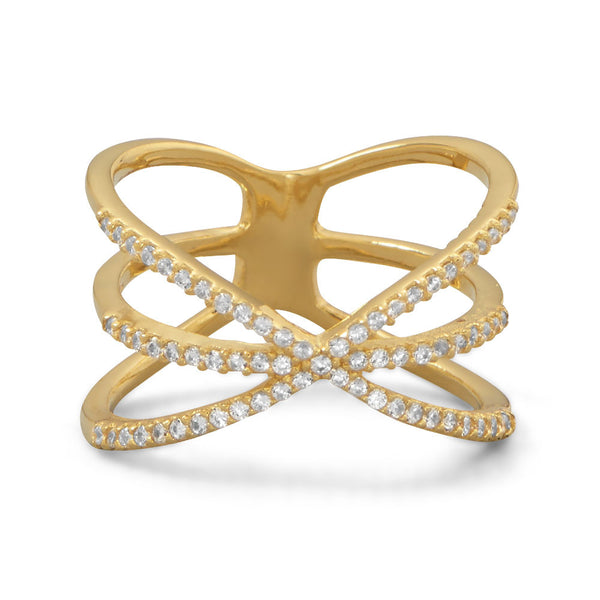 "Triple Row Criss Cross ""X"" CZ Ring"