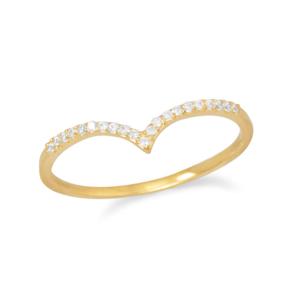 "18K Gold Plated Cubic Zirconia ""V"" Ring"
