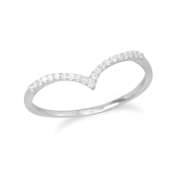 "Cubic Zirconia ""V"" Ring"