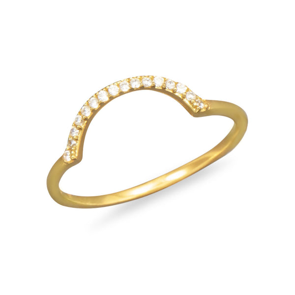 "18 Karat Gold Plated ""U"" CZ Ring"