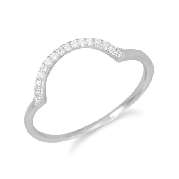 """U"" Ring with Cubic Zirconia"