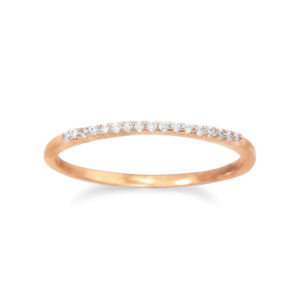 18K Rose Gold Plated Thin CZ Ring