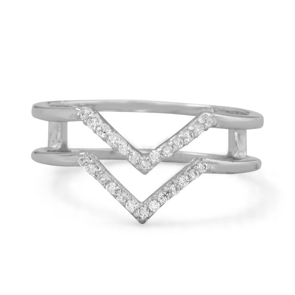 "Double Row Cubic Zirconia ""V"" Ring"
