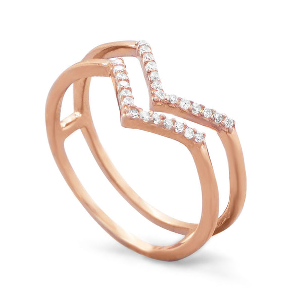 "18 Karat Rose Gold Plated Two-Row CZ ""V"" Ring"