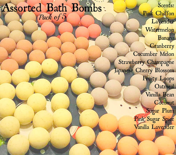Pack of Five Bath Bombs- Assorted Scents