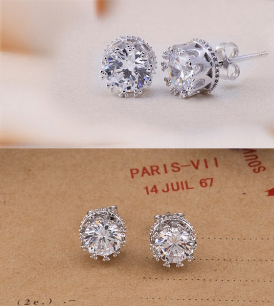 Sparkling Crown Set Crystal Stud Earrings