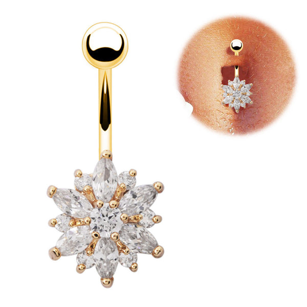 Flower Belly Button Ring with Clear Rhinestones