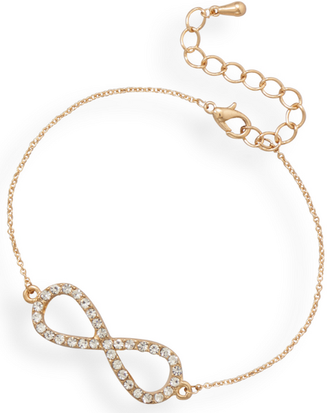 Gold Tone Crystal Infinity Fashion Bracelet