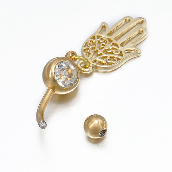 Gold Plated Hamsa Belly Button Ring