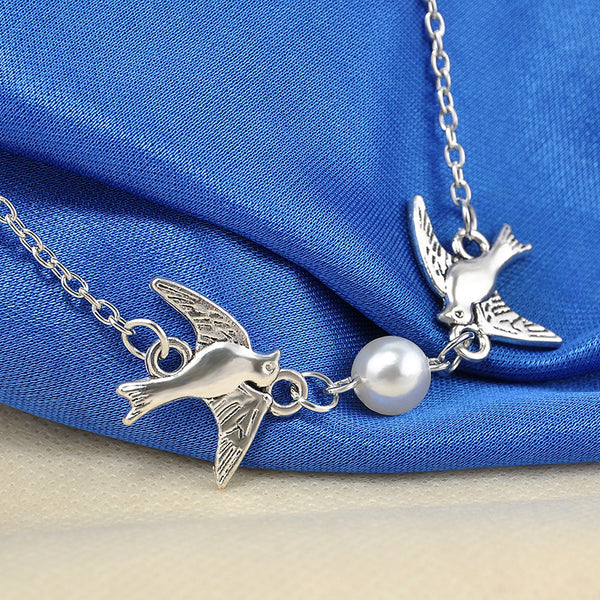 Peace Birds & Faux Pearl Pendant Necklace