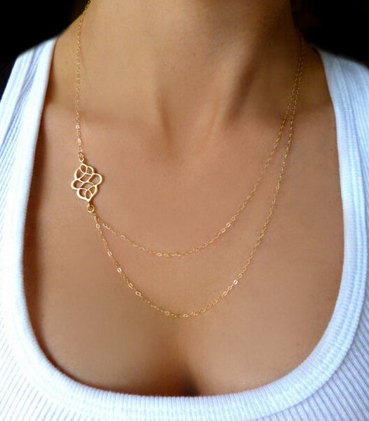 Sideways Charm Layered Necklace