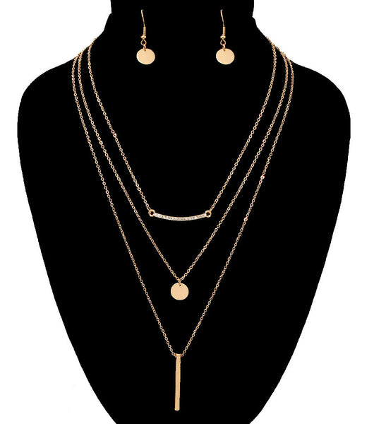Layered Necklace and Earrings Set