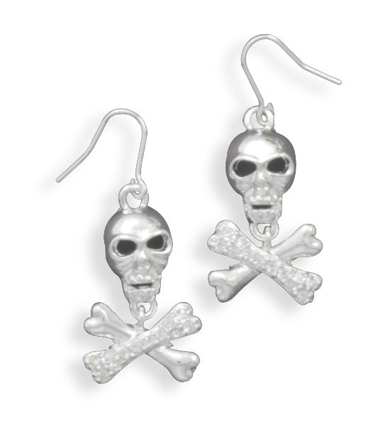 Swarovski Crystal Skull & Cross Bone Fashion Earrings