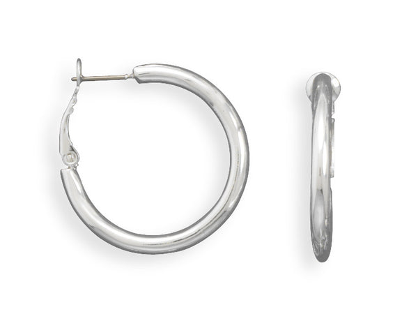 Silver Plated Brass Round Tube Post Clip Fashion Silver Hoop Earrings