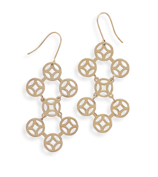 Gold Plated Brass Circle Design Fashion Earrings