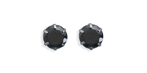 Black Cubic Zirconia Stud Earrings (7mm)