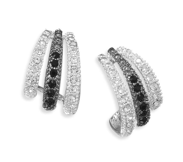 Silver Plated Black & White Crystal Fashion Earrings