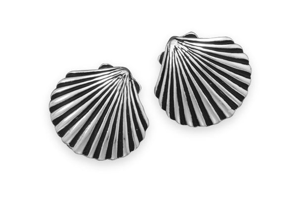 Oxidized Shell Clip On Fashion Earrings