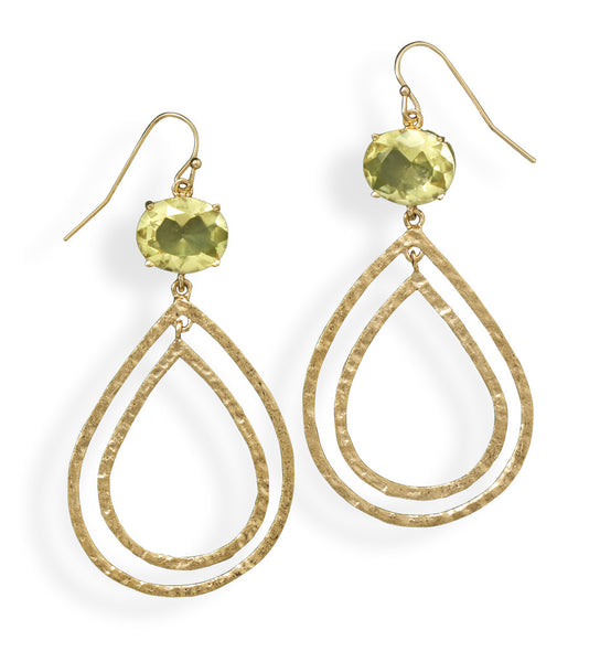 Gold Plated Brass & Yellow CZ Earrings