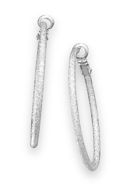 Silver Tone Stardust Fashion Silver Hoops