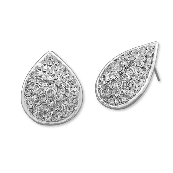 Silver Tone Crystal Pear Shape Fashion Earrings