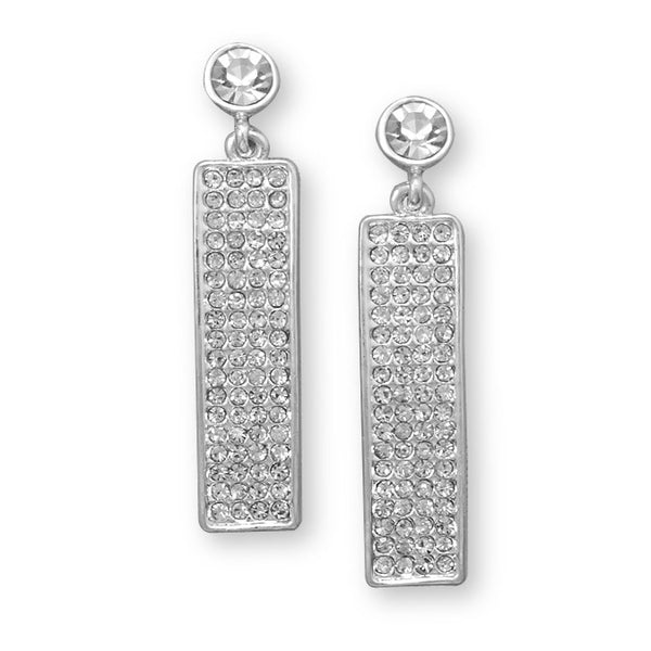 Silver Tone Rectangle Drop Fashion Earrings With Crystal