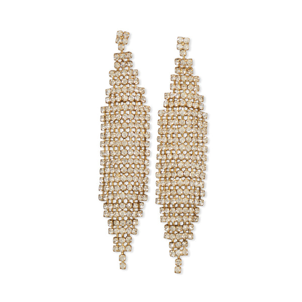 Stunning Gold Tone Drop Fashion Earrings With Crystal
