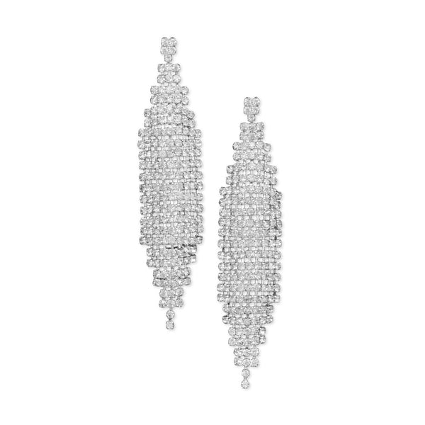 Stunning Silver Tone Drop Fashion Earrings With Crystal