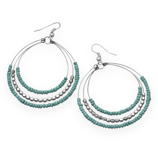 Three Row Graduated Fashion Earrings With Turquoise Color Beads