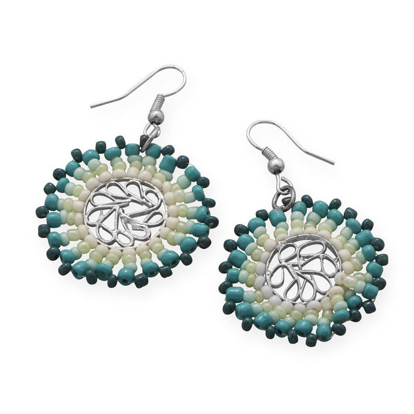 Round White & Teal Beaded Fashion Earrings