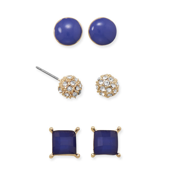 Set of Three Blue Fashion Earrings