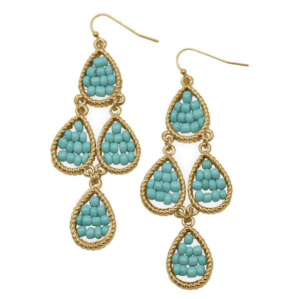 Golden Blue Bead Pear Drop Fashion Earrings