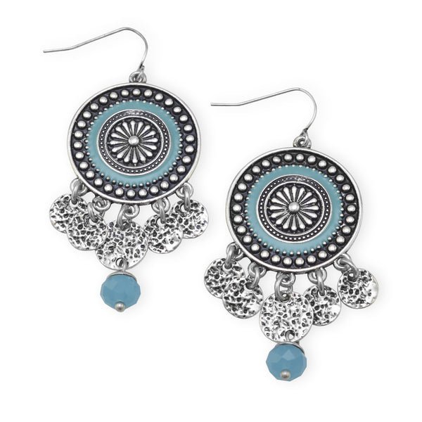 Southwestern Disc Drop Fashion Earrings