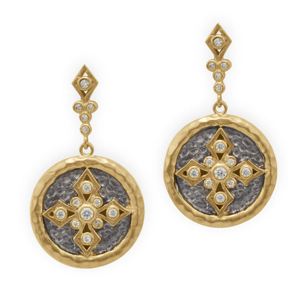 Golden Brass Cubic Zirconia Cross Drop Earrings