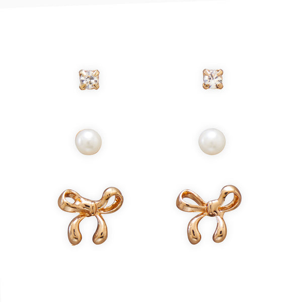 Classic Trio Bow Fashion Earrings