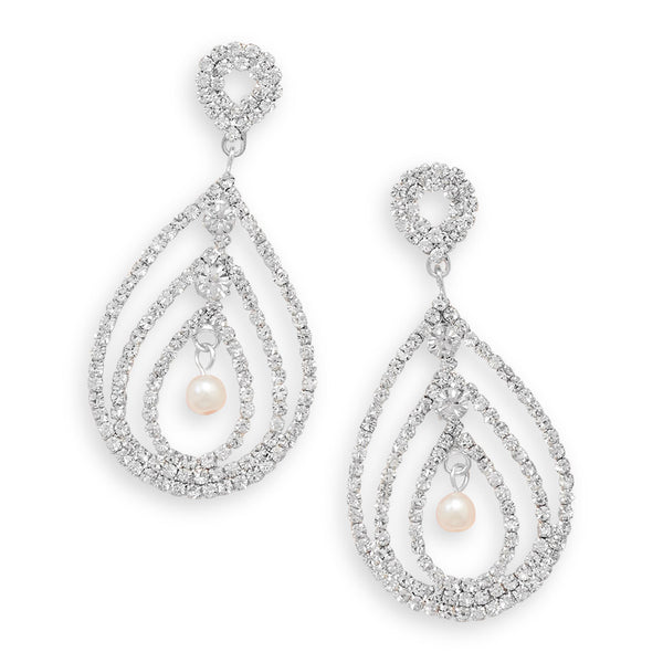 Sparkling Crystal Pear Drop Fashion Earrings