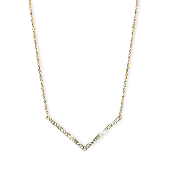 "Gold Tone ""V"" Necklace with Crystals"