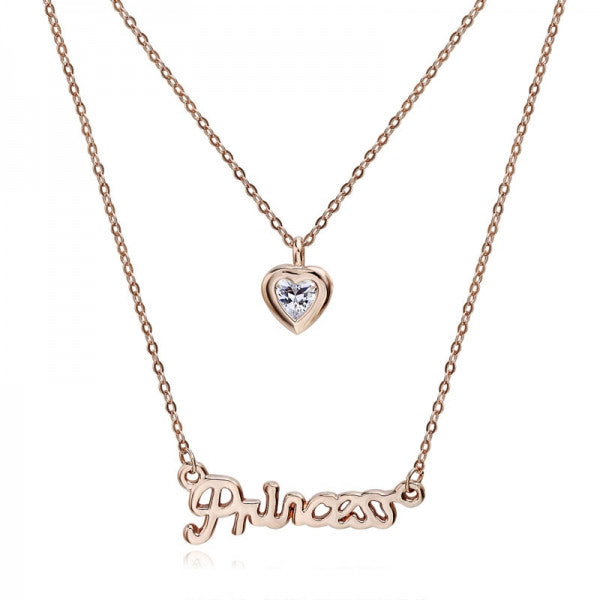 princess necklace with heart pendant