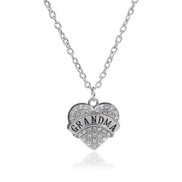 Grandmother Silver Chain Necklace Clear Rhinestone Heart