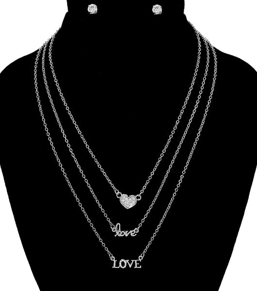 Layered Necklace with Love Pendants
