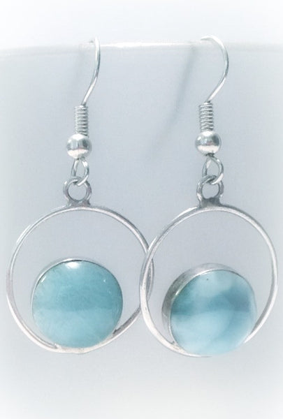 Larimar Earrings on French Wire - From Dominican Republic
