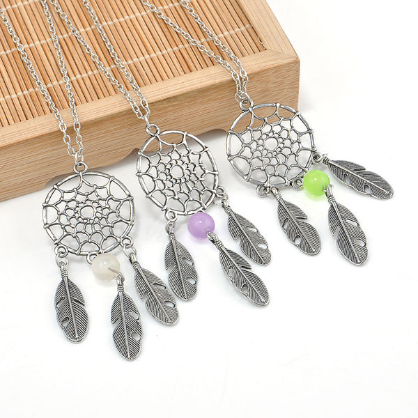 Dreamcatcher Fashion Necklace with Purple Bead