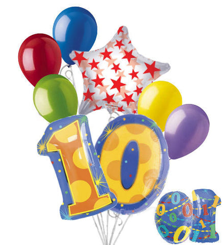 10th Birthday Themed Number Balloon Bouquet