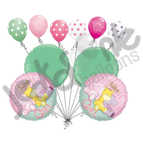 Baby Girl Jungle Animal Balloon Bouquet