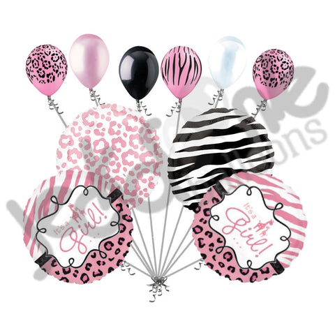 Baby Girl Sweet Safari Balloon Bouquet