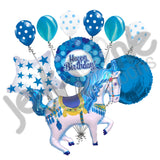 Blue Carousel Horse Happy Birthday Balloon Bouquet