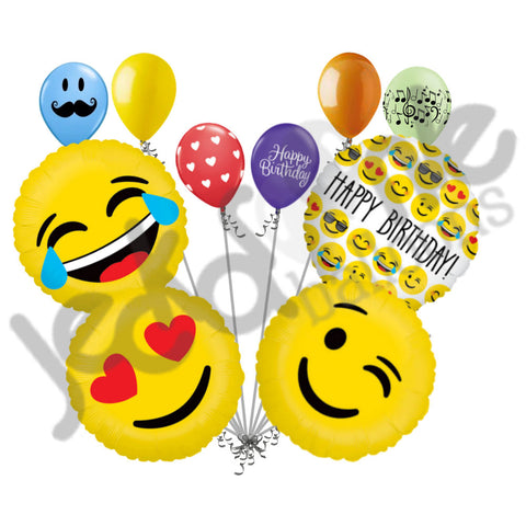 Emoji Lol Tears of Joy, Happy Birthday, Wink, & Love Balloon Bouquet