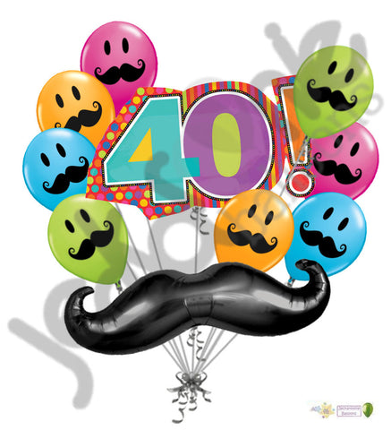 Mustache & Stripes 40th Happy Birthday Balloon Bouquet