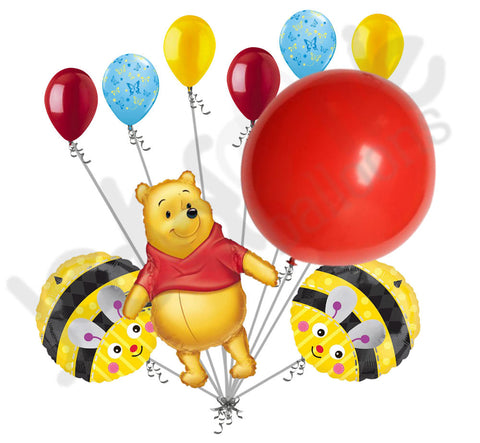 Disney Pooh Bear, Bumble Bees, & Giant Red Balloon Bouquet
